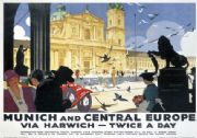 Vintage Travel Poster Munich and Central Europe by London North Eastern Railways